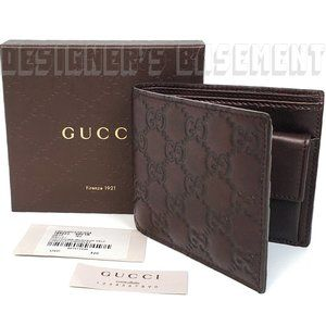 GUCCI brown GUCCISSIMA leather COIN Pouch Wallet